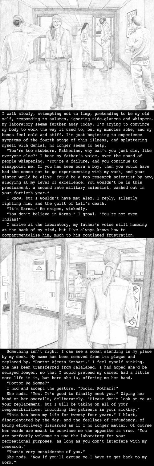 Katherine's backstory set in Saskatoon military base, India, (3990)